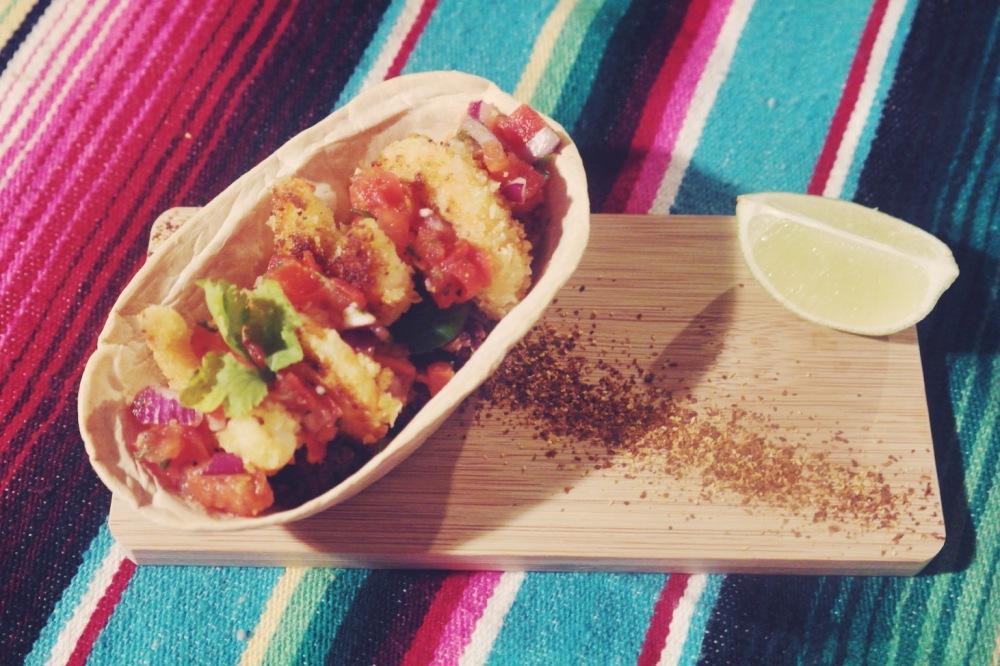 Tacos aux crevettes panées et haricots noirs 1