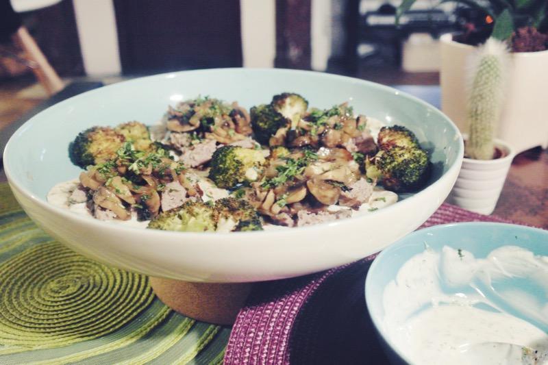 tacos crépinettes de porc champignons brocoli