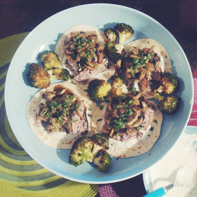 tacos crépinettes de porc champignons