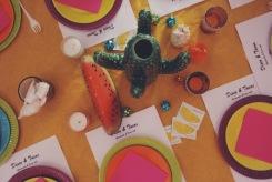 Disco & Tacos soirée à la maison déco table cactus